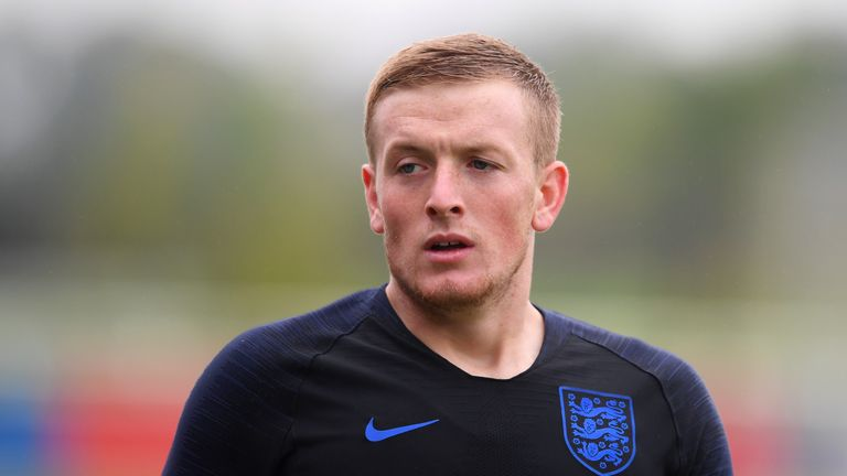 Jordan Pickford during an England training session at St George's Park on September 4, 2018 in Burton-upon-Trent, England.