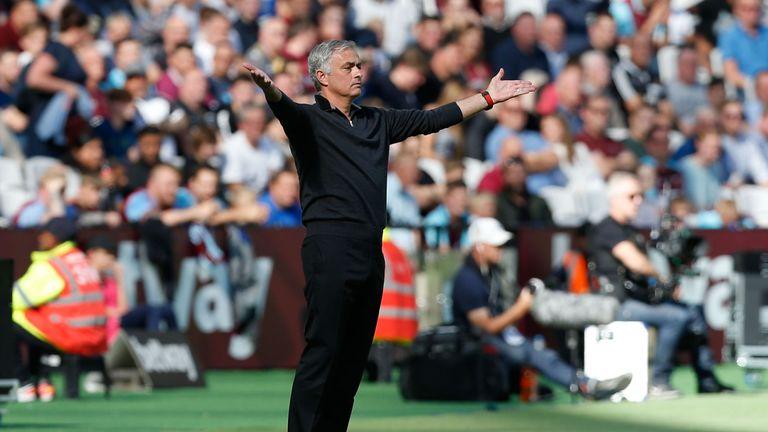 Mourinho on the touchline at the London Stadium