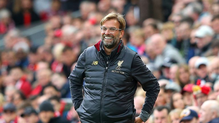 Jurgen Klopp, Manager of Liverpool reacts during the Premier League match between Liverpool FC and Southampton FC at Anfield