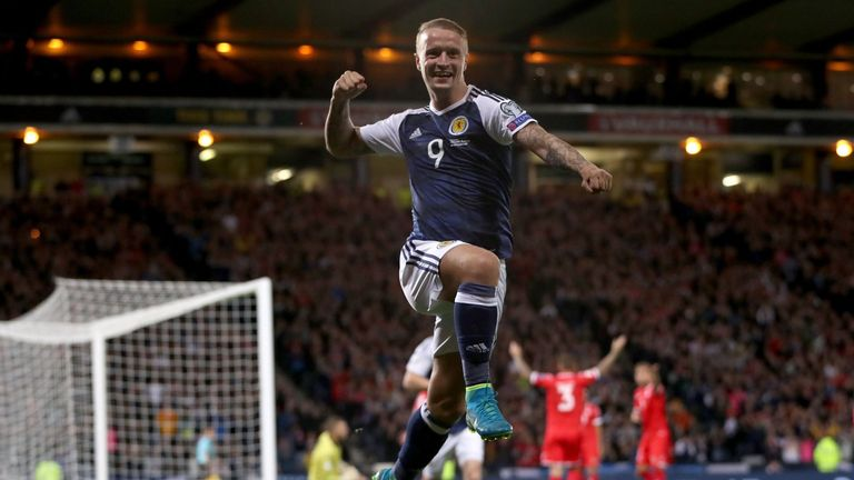 Leigh Griffiths celebrates scoring for Scotland
