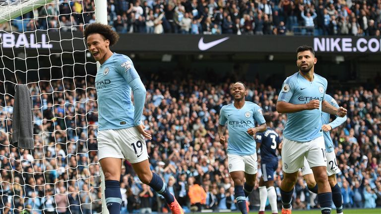 Leroy Sane celebrates putting Manchester City ahead against Fulham