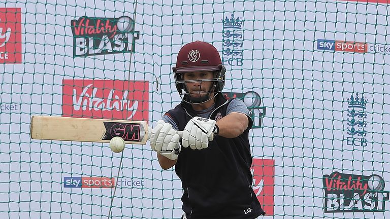 Somerset's Lewis Gregory nets at Edgbaston on the eve of Finals Day