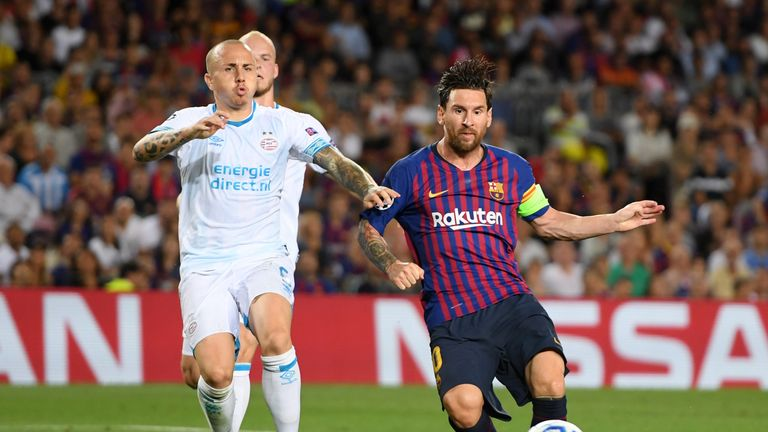 Lionel Messi notches his third against PSV