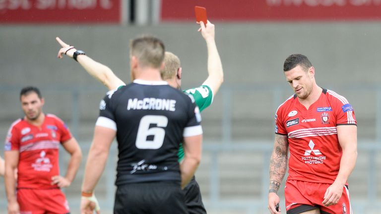 Salford's Luke Burgess is shown a red card for a high tackle