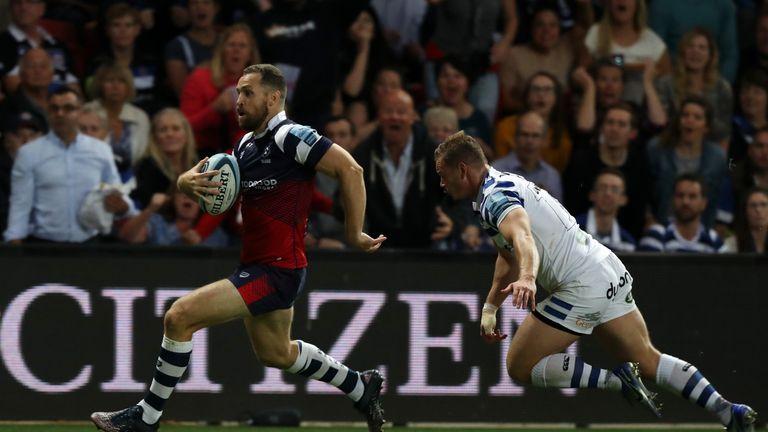 Luke Morahan breaks for Bristol Bears against Bath Rugby