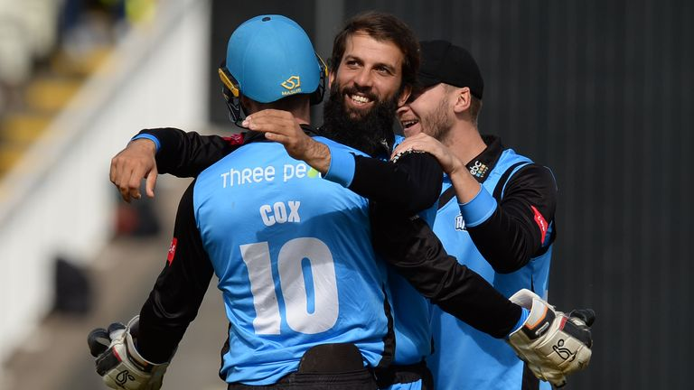 Ali celebrates taking the wicket of Jos Buttler in the semi-final win over Lancashire