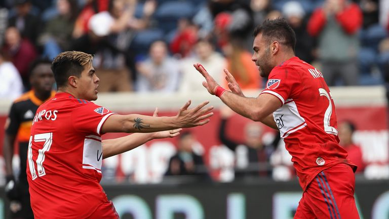 Nemanja Nikolic (right) scored twice