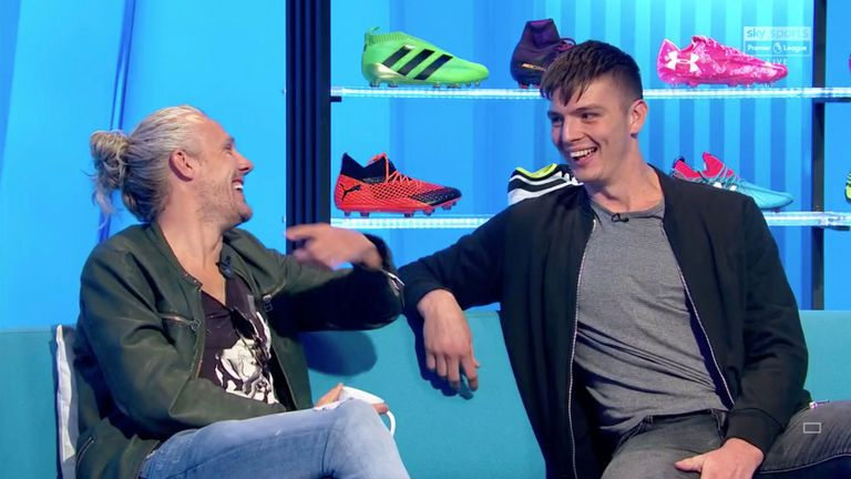 Nick Pope (right) on the Soccer AM sofa with Jimmy Bullard
