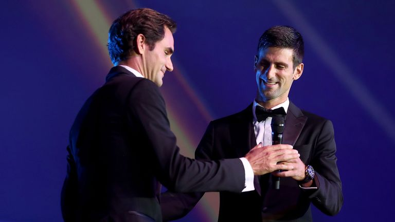 Roger Federer hugged Novak Djokovic on stage during the Laver Cup gala at the Navy Pier ballroom