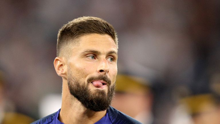 Olivier Giroud started featured in all seven of France's World Cup games