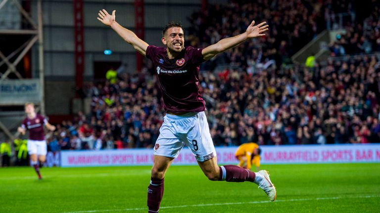 Olly Lee has four goals in his twelve appearances from the Hearts midfield this campaign in all competitions