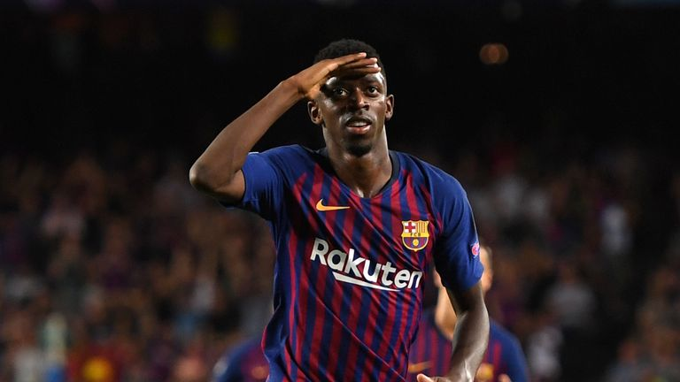 Ousmane Dembele celebrates after scoring Barcelona's second goal against PSV Eindhoven