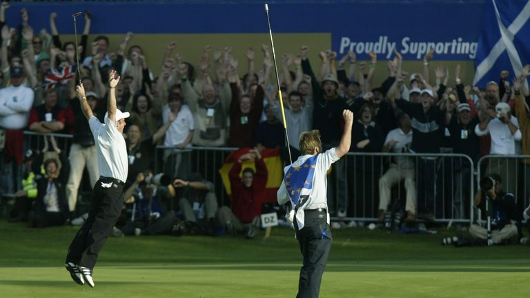 Paul McGinley holed the winning putt for Europe in the delayed 2002 Ryder Cup