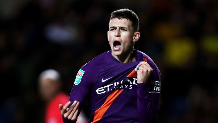 Phil Foden scored his first senior goal for Manchester City in midweek