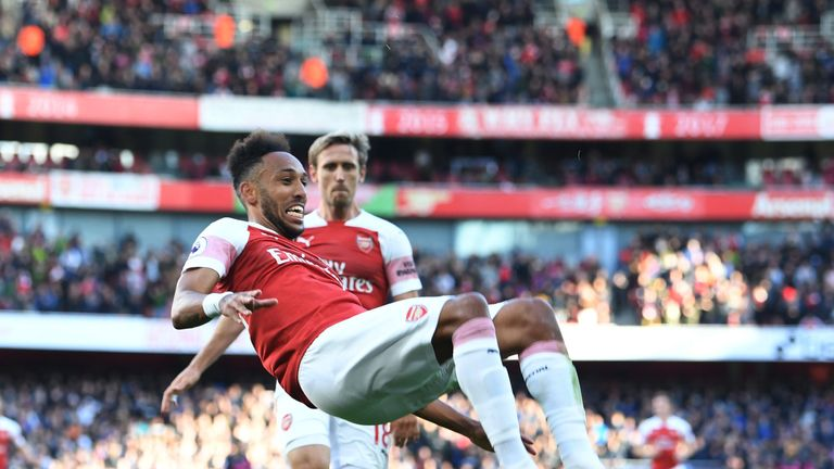 Pierre-Emerick Aubameyang celebrates his goal in the second half