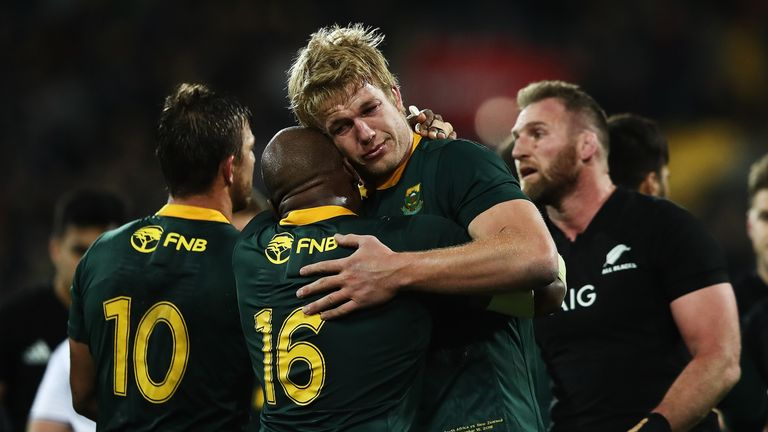 Pieter-Steph du Toit shows his emotions following South Africa's victory over New Zealand in Wellington