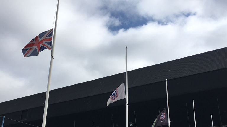 Flags flew at half mast at Portman Road on Monday in honour of Kevin Beattie