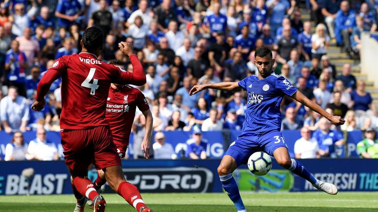 Rachid Ghezzal (right) pulled a goal back for Leicester after a mistake by Alisson