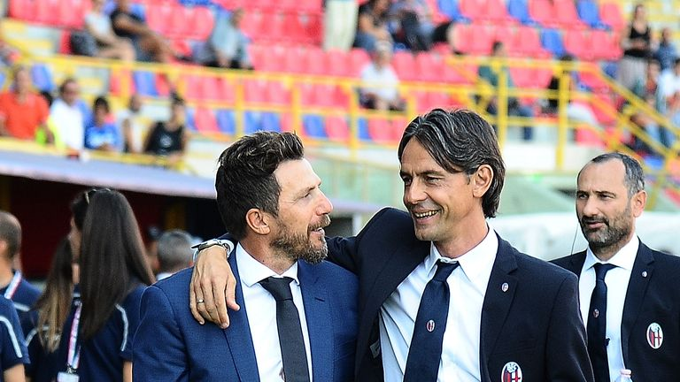 Filippo Inzaghi's (L) Bologna beat Eusebio Di Francesco's Roma 2-0 over the weekend