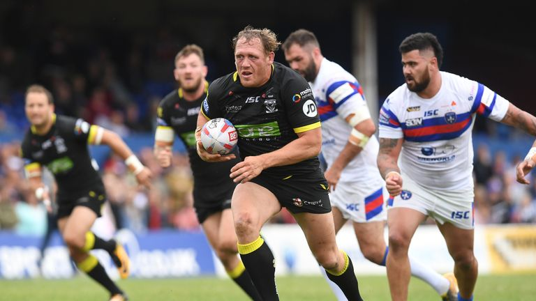 Westwood, pictured running at former club Wakefield's defence, will be again the oldest player in Super League