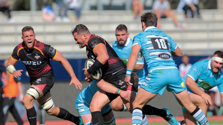 Schalk Ferreira carries into contact for the Southern Kings against Glasgow