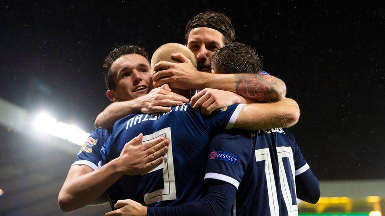 Scotland celebrate taking the lead against Albania