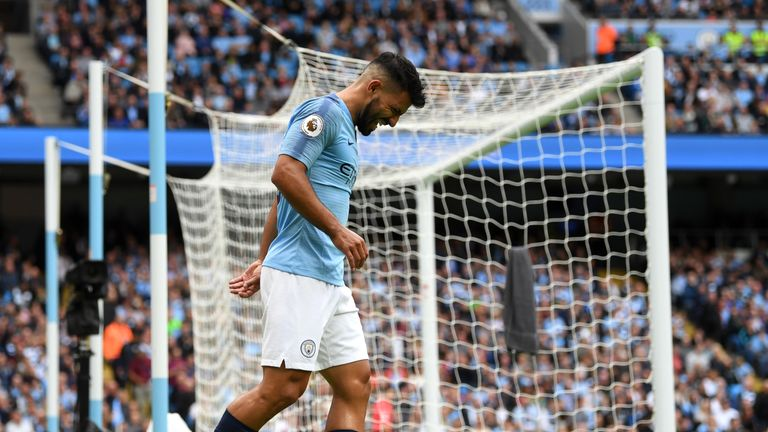 Sergio Aguero appeared to suffer an ankle injury against Fulham