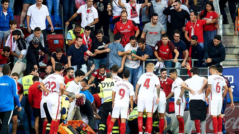 Two Sevilla fans were injured after a barrier collapsed at Eibar