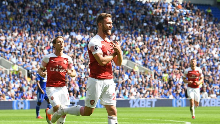 Shkodran Mustafi's opened the scoring in Arsenal's 3-2 win at Cardiff