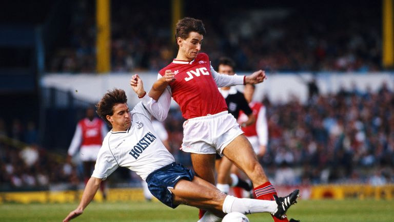 The former striker in action for Arsenal against Tottenham in October 1987