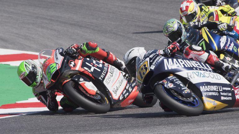 Stefano Manzi (#62) leads Romano Fenati (#13) during Sunday's controversial Misano Moto2 race