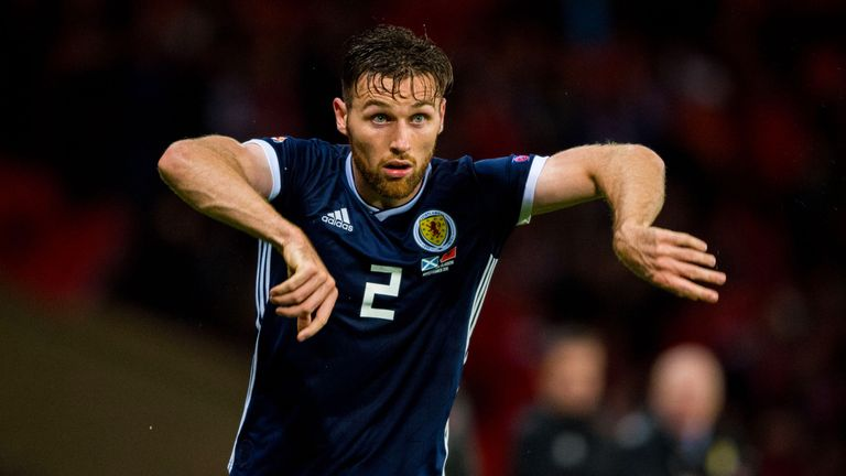 Kilmarnock defender Stephen O'Donnell in action for Scotland against Albania on Monday night