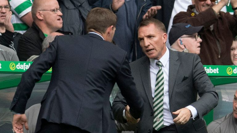 Steven Gerrard and Brendan Rodgers shake hands after Celtic's Old Firm win