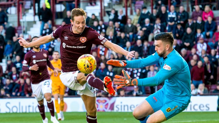 Hearts' Steven MacLean (L) in action against Livingston's Liam Kelly