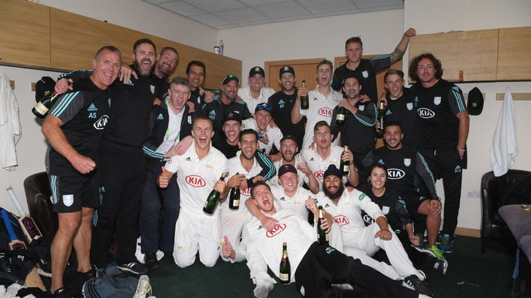 Surrey celebrate their first County Championship title in 16 years