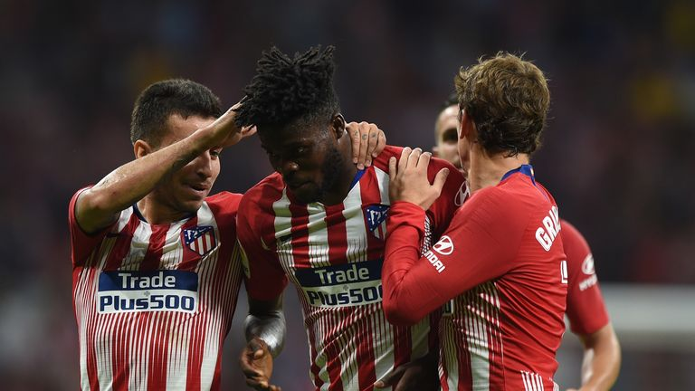 Thomas Partey is congratulated after his strike in Atletico's victory