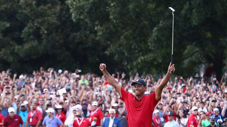 Tiger Woods ended his five-year wait for a title with victory at the Tour Championship on Sunday - he will now be looking to end his 10-year period without a major