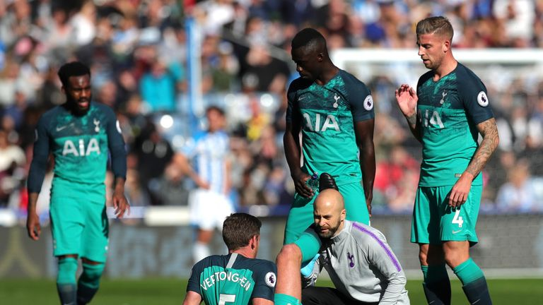 Jan Vertonghen picked up his hamstring injury in Tottenham's win at Huddersfield last month