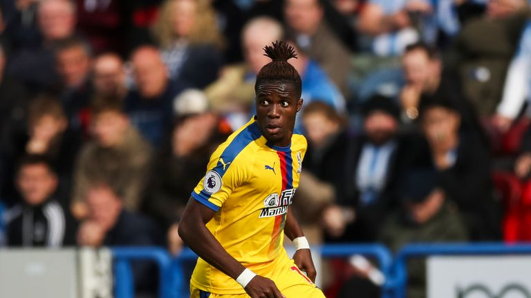 Wilfried Zaha is a doubt for the match at Goodison Park