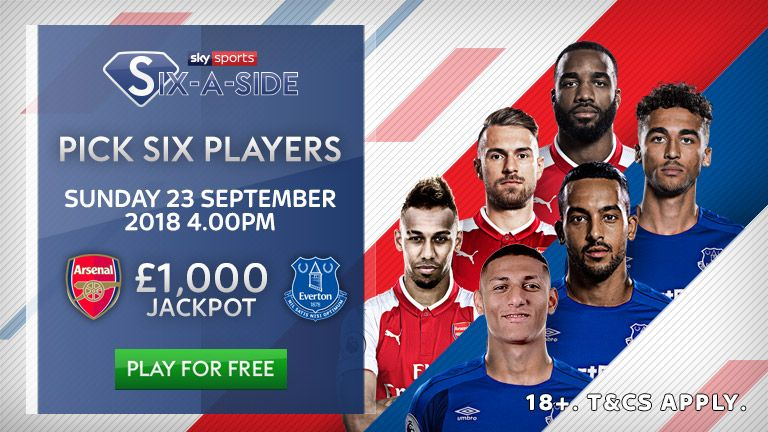 Elite player options for Sky Sports six-a-side - Arsenal v Everton