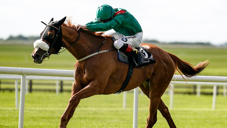 Declan McDonogh riding Eziyra win the Moyglare 'Jewels' Blandford Stakes at the Curragh
