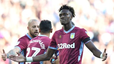 Aston Villa's Tammy Abraham celebrates scoring his side's first goal of the game