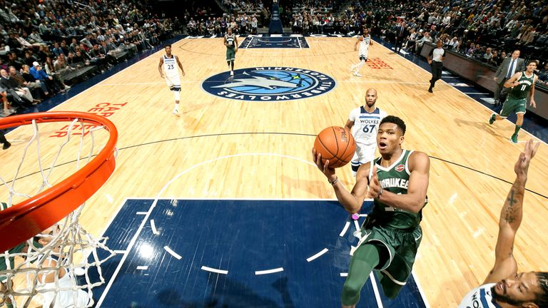 Giannis Antetokounmpo rises for a lay-up