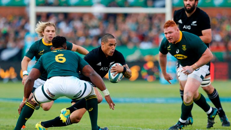 Aaron Smith vies for the ball during the Rugby Championship match