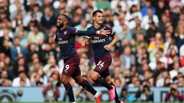 Lacazette celebrates putting Arsenal in front against Fulham