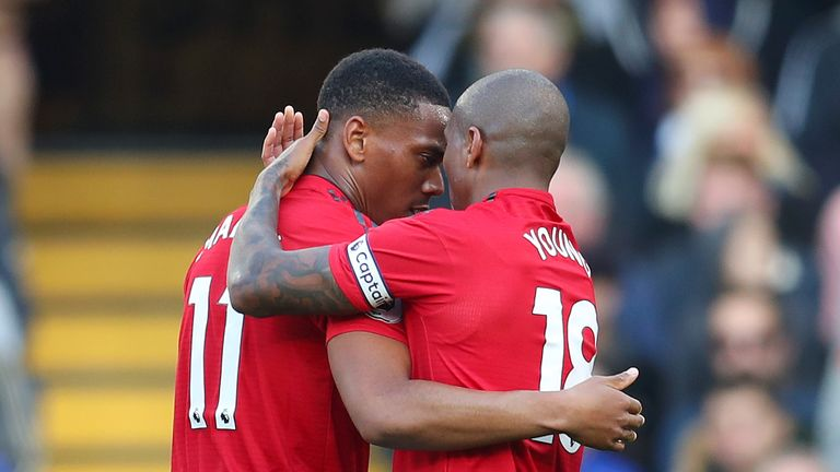 Anthony Martial celebrates scoring Manchester United's equaliser with Ashley Young