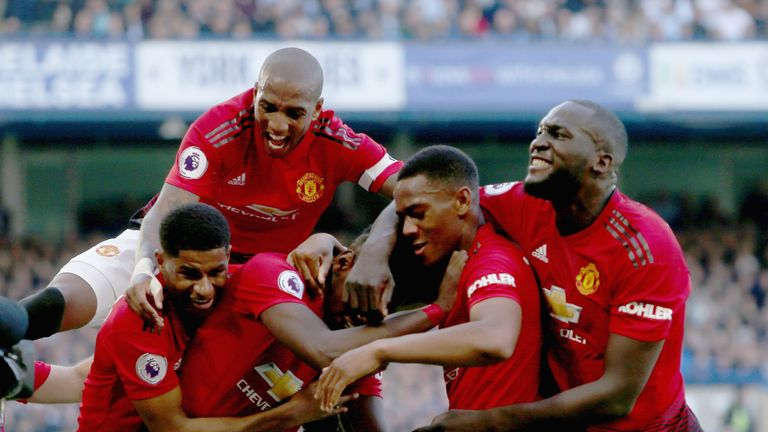 Manchester United celebrate during the Premier League match against Chelsea at Stamford Bridge on October 20, 2018 in London, United Kingdom.