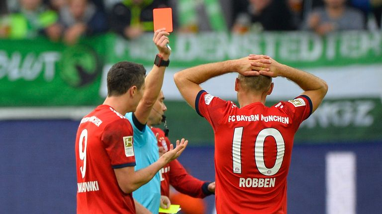 Arjen Robben was sent-off in Bayern's win