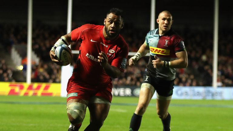 Billy Vunipola of Saracens breaks with the ball to score