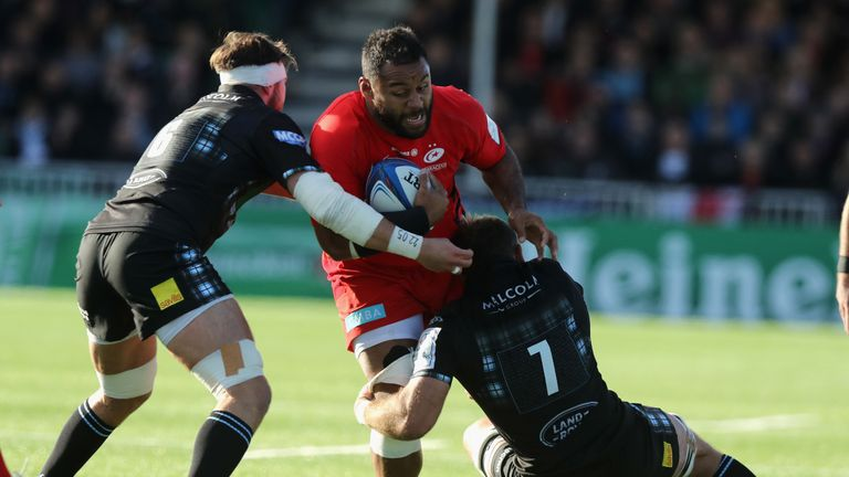 Billy Vunipola during the Champions Cup match between Glasgow Warriors and Saracens at the Scotstoun Stadium on October 14, 2018 in Glasgow, United Kingdom